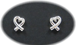 Sterling Awareness Ribbon Heart Earrings