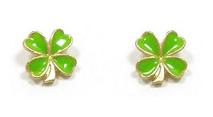 Green And Gold Four Leaf Clover Pierced earrings