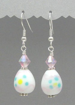 White Easter Egg Earrings