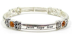 Amber Crystal Faith Hope Love Stackable Bracelet
