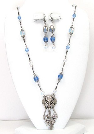 Art Nouveau Inspired Necklace Set In Two Colors