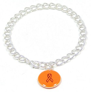 Orange Custom Colors Of Support Round Charm Bracelet