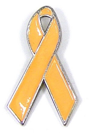 Peach Awareness Ribbon Tie Tack Pin