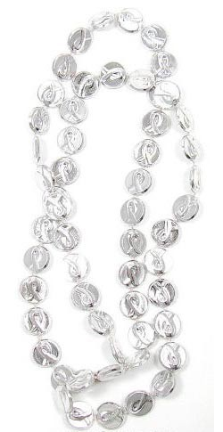Silver Ribbon Mardi Gras Beads