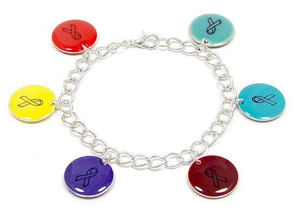 Sample of a 6 charm bracelet with red, yellow, purple, burgundy, turquoise and light blue charms.