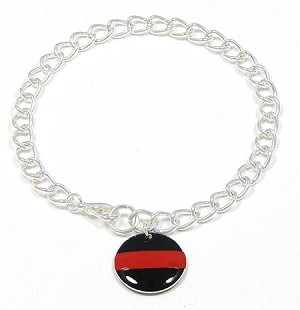 Thin Red Line Charm Bracelet For Firefighters