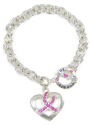 Bound By Love Pink Ribbon Toggle Bracelet