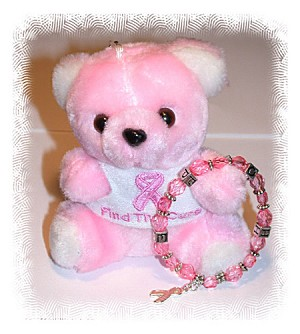 Pink Ribbon Bear And Bracelet Set