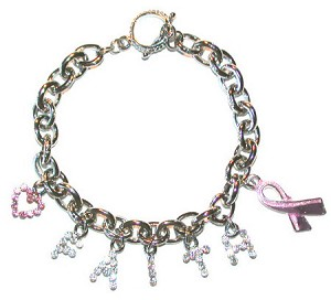 Austrian Crystal Pink Ribbon Love And Faith Bracelet