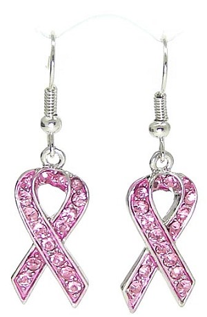 Crystal Pink Ribbon Earrings