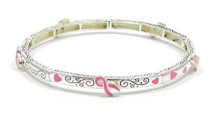Pink Ribbons All Around Stackable Bracelet