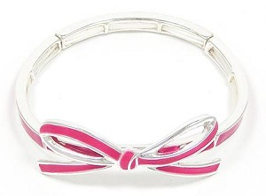 Pink Ribbon Bow Bracelet