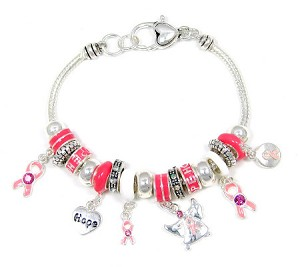 Pink Ribbon Slider Bead Bracelet
