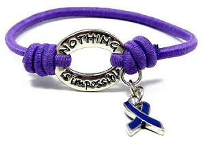 Nothing Is Impossible Purple Ribbon Bracelet