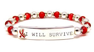 Beaded I Will Survive Red Ribbon Bracelet