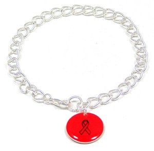 Red Custom Colors Of Support Round Charm Bracelet