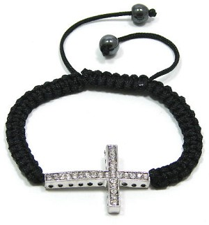 Black Adjustable Crystal Cross Bracelet