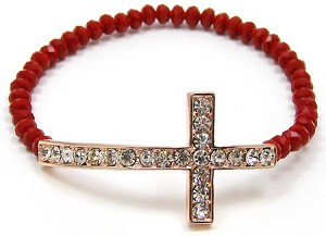 Red Crystal Cross Beaded Bracelet