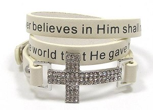 White John 3:16 Cross Wrap Bracelet