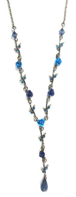 Blue Metal Rose Necklace