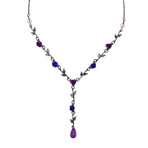 Purple Metal Rose Necklace