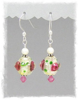 Bicone Silver Foil Rose Lampwork Earrings