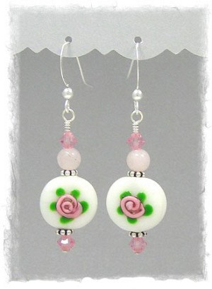 Pink Rose Garden Earrings