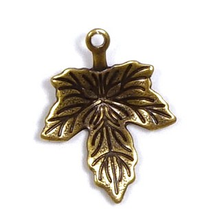 Maple Leaf Charm Antique Gold Plated