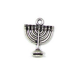 Menorah Charm Silver Plated