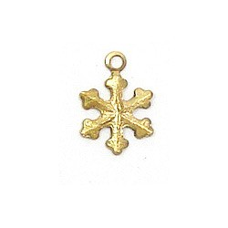 Mini Snowflake Charm Brass