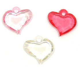 Faceted Acrylic Heart Charms