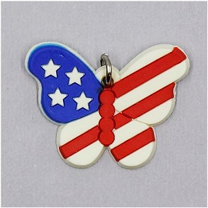 American Flag Butterfly Charm Rubber