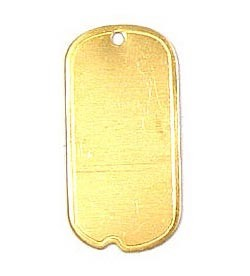Small Dog Tag Charm Brass