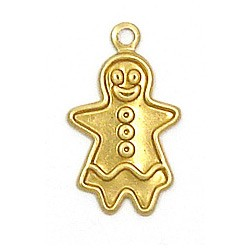 Gingerbread Girl Charm Brass