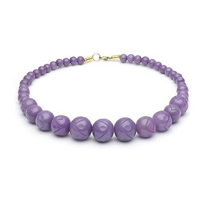 Carved Amethyst Fakelite Beads Necklace By Splendette
