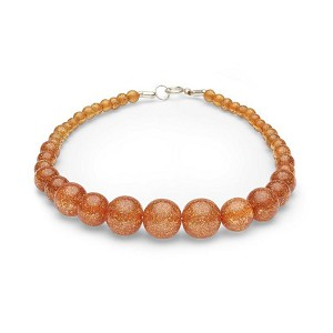 Pale Orange Glitter Beads Necklace By Splendette