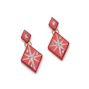 Red Starburst Earrings By Splendette
