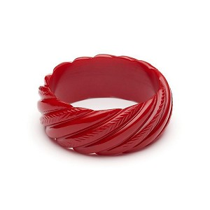 Wide Red Heavy Carved Fakelite Bangle By Splendette