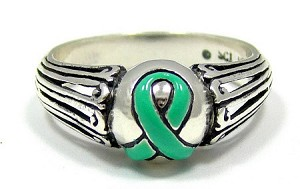 Sterling Silver Teal Awareness Ribbon Ring