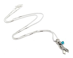 Teal Sterling Awareness Ribbon Survivor Necklace