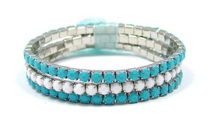 Teal And White Stretch Bracelet Set