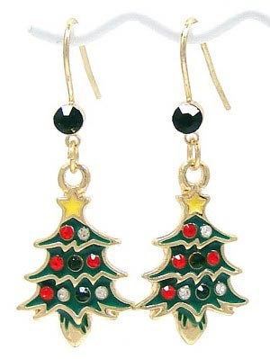 earrings il green christmas silver drop etsy xmas market tree enamel plated dangle tddu