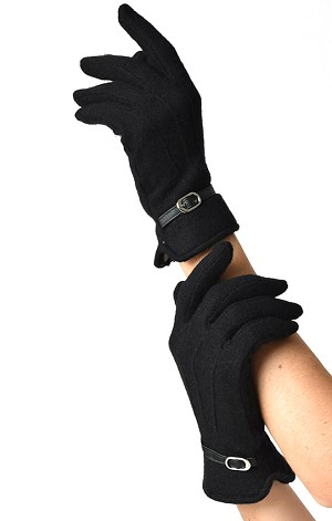 Black Wool Buckle Trim Wrist Gloves By Unique Vintage