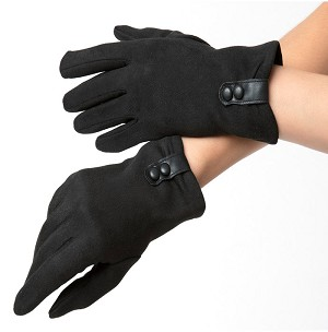Black Suede With Buttons Wrist Gloves By Unique Vintage