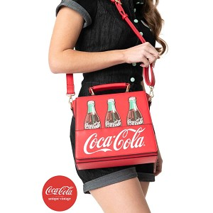 Coca Cola X Unique Vintage Red Leatherette Classic Coke Bottle Purse