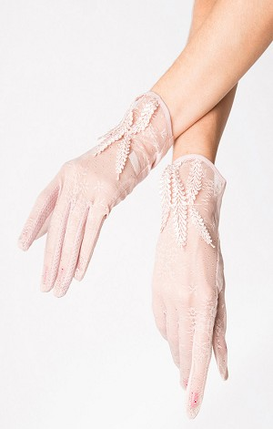 Dusty Pink Floral Mesh Wrist Gloves By Unique Vintage