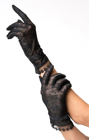 Black Mesh Lace Wrist Gloves By Unique Vintage