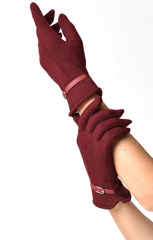 Burgundy Wool Buckle Trim Wrist Gloves By Unique Vintage