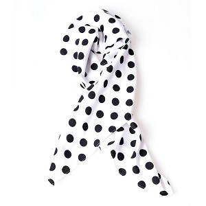 White And Black Polka Dot Print Hair Scarf By Unique Vintage