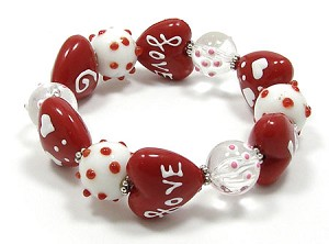 Red And White Lampwork Heart Bracelet